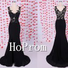 Lace Applique Prom Dress,Black Mermaid Prom Dresses