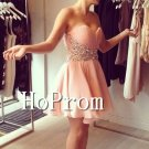 Sweetheart Short Prom Dress,Beading Pink Prom Dresses