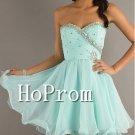 Short Beading Prom Dress,Mint Chiffon Prom Dresses