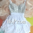 Halter Beading Prom Dress,Short Prom Dresses