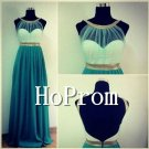 Gold Neckline Prom Dress,A-Line Backless Prom Dresses