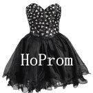 Black Beaded Prom Dresses,Short Mini Prom Dress