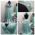 V-Neck Beaded Prom Dresses,Backless Prom Dresses