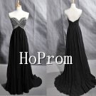 V-Neck Prom Dresses,Black Beaded Prom Dress