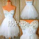 Sequined White Prom Dresses,Short Prom Dresses