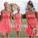 Coral Chiffon Prom Dresses,Strapless Prom Dresses