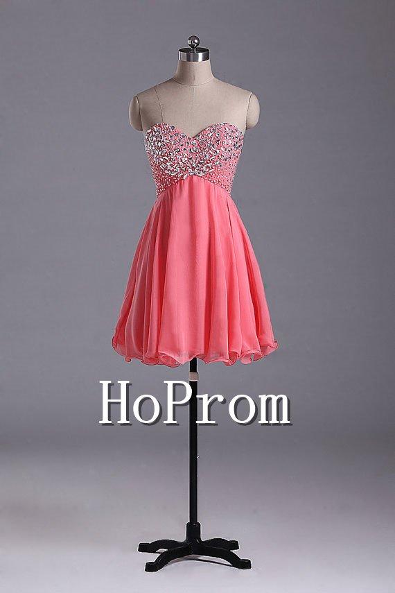 Short Beaded Prom Dresses,A-Line Chiffon Prom Dresses
