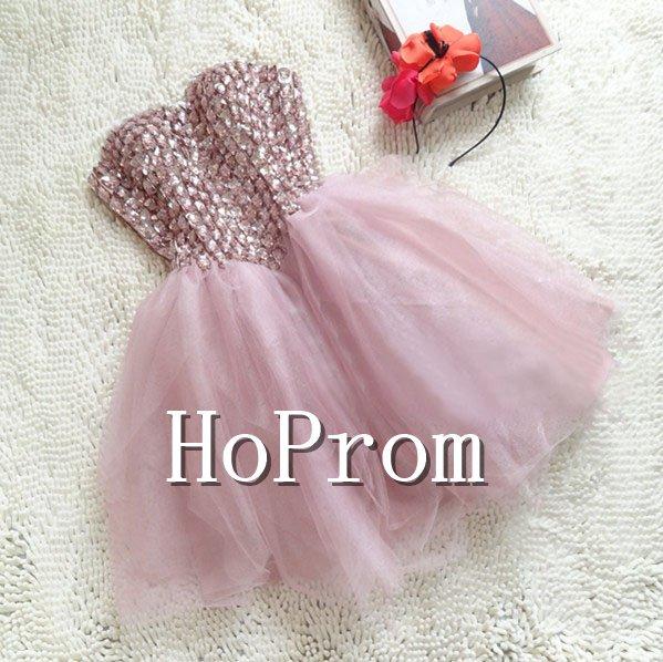 Beading Short Prom Dresses,Strapless Prom Dresses