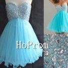 Sky Blue Prom Dresses,Beaded Short Prom Dresses