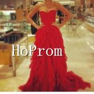 Sweetheart Prom Dresses,Red Ruffles Prom Dresses