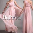 One Shoulder Prom Dresses,Pink Chiffon Prom Dress
