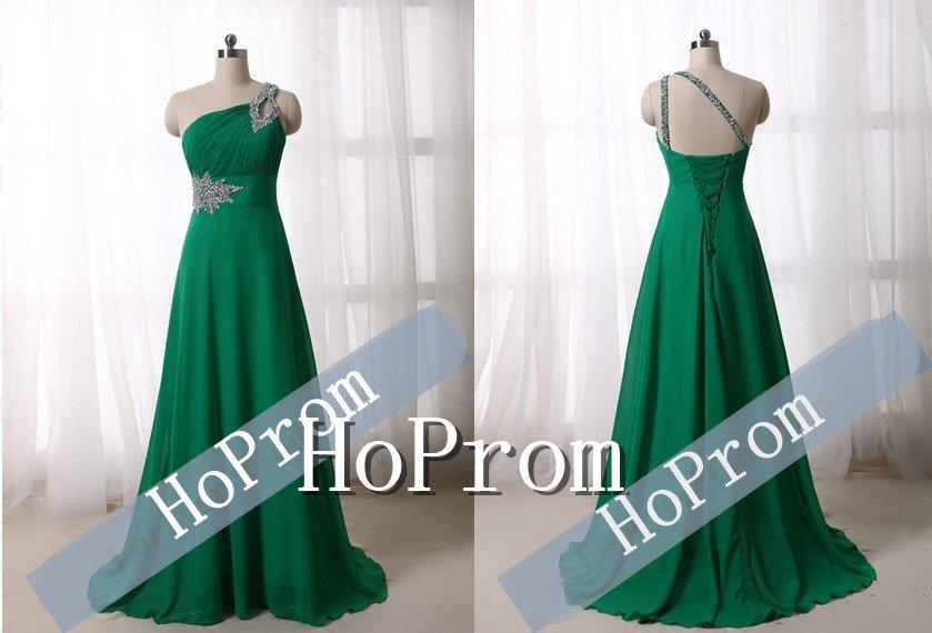 One Shoulder Prom Dresses,Chiffon Beaded  Prom Dress