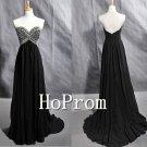 Black Beaded Prom Dresses,Chiffon Prom Dress