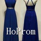 High Neck Prom Dress,A-Line Blue Prom Dresses