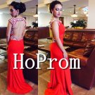 Backless Red Prom Dress,Long Beading Prom Dresses