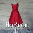 Knee Length Prom Dress,V-Back Red Prom Dresses