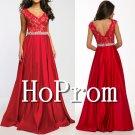 V-Neck Red Prom Dress,Sleeveless Satin Prom Dresses