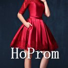 Long Sleeve Prom Dress,Lace Satin Prom Dresses