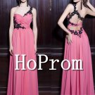 One Shoulder Prom Dress,Pink Long Prom Dresses