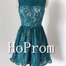 Sleeveless Short Prom Dress,Blue Lace Prom Dresses