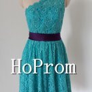 One Shoulder Prom Dress,Short Lace Prom Dresses