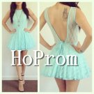 V-Back Lace Prom Dress,Short Mini Prom Dresses