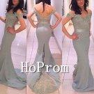 Off Shoulder Prom Dress,Grey Lace Prom Dresses