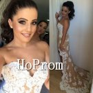 High Low Prom Dress,Lace Applique Prom Dresses