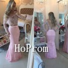 Long Sleeve Prom Dress,Beading Lace Prom Dresses