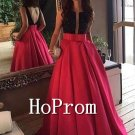 Sleeveless Red Prom Dress,Long Satin Prom Dresses