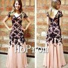 Short Sleeve Prom Dress,Black Applique Prom Dresses