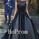 Sleeveless Black Prom Dress,A-Line Prom Dresses