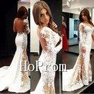 Long Sleeve Prom Dress,Lace Mermaid Prom Dresses