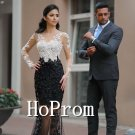 Long Sleeve Prom Dress,Lace Applique Prom Dresses