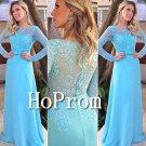 Long Sleeve Prom Dress,Blue Lace Prom Dresses