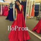 V-Neck Red Prom Dress,Cap Sleeve Prom Dresses