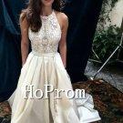 White Halter Prom Dress,Floor Length Prom Dresses