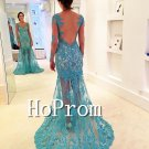 Long Sleeve Prom Dress,V-Neck Lace Prom Dresses