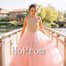 High Neck Prom Dress,A-Line Tulle Prom Dresses