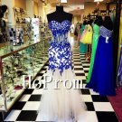 Sweetheart Mermaid Prom Dress,Blue Applique Prom Dresses