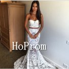 Two Piece Prom Dress,Lace Mermaid Prom Dresses
