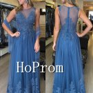 Sleeveless Lace Prom Dress,Applique Blue Prom Dresses