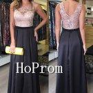Sleeveless Black Prom Dress,Lace Chiffon Prom Dresses