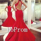 Backless Red Prom Dress,Floor Length Prom Dresses