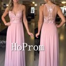 Sleeveless Pink Prom Dress,A-Line Prom Dresses