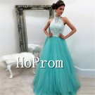 High Neck Prom Dress,Mint Tulle Long Prom Dresses