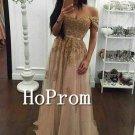 Off Shoulder Prom Dress,Gold Beading Prom Dresses