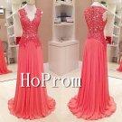 Sleeveless Applique Prom Dress,Lace Chiffon Prom Dresses
