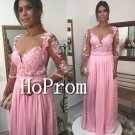 Long Sleeve Prom Dress,Pink Lace Prom Dresses