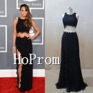 Two Piece Prom Dress,Side Slit Black Sexy Prom Dresses